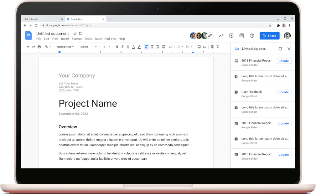 Google Docs screen showing a project template open.