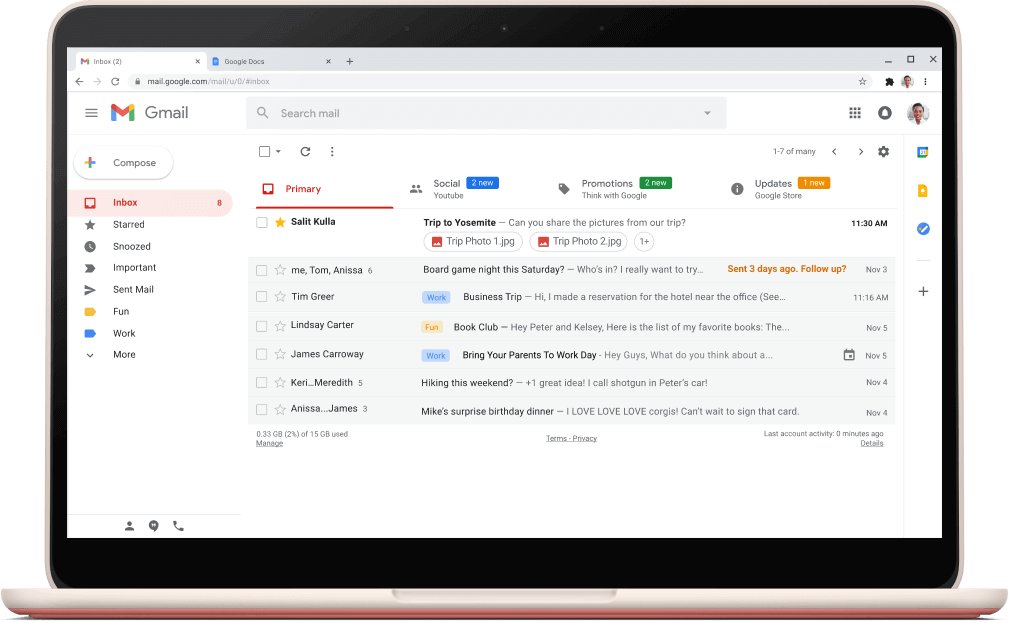 Gmail interface screen with emails listed.